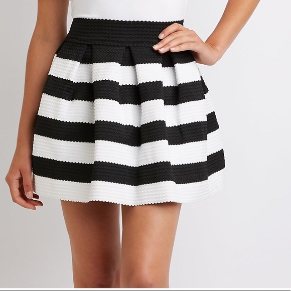 c175fee84d Macy's Skirts | Sale Stripped Black Skater Skirt | Poshmark